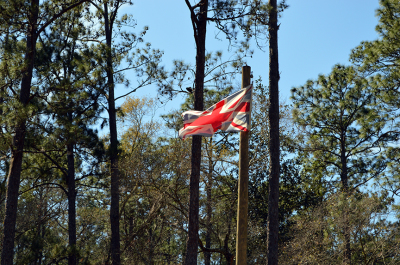 British flag flies over Prospect Bluff, site of the Negro Fort on the Apalachicola River.