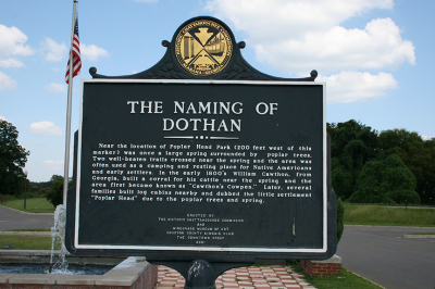 Historical marker detailing the naming of Dothan, Alabama.